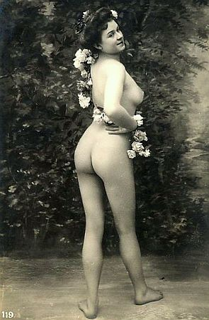 vintage nude wrapped in flowers