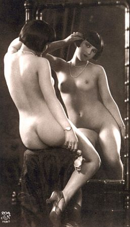 vintage nude with mirror