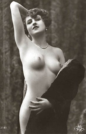 vintage nude in coat