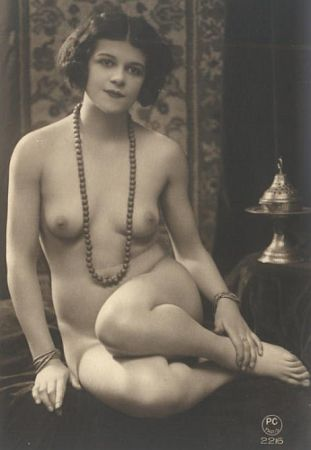 vintage nude with necklace